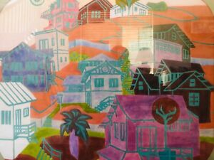 🔥 Antique Mid Century Modern Abstract Pop Cityscape Painting, Hockney - Signed