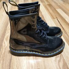 Doc Martens Black Air Wair Soles 1460 W Patent Leather Ankle Boots Size 9
