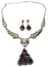 Navajo Handmade Amethyst Sterling Silver Necklace Set -Clem Nelwood