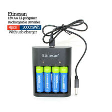 4pcs Etinesan 3000mWh AA Lithium ion LiPo rechargeable batteries + USB Charger