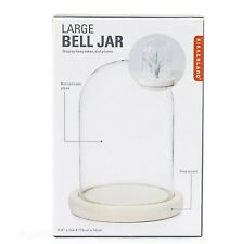 Kikkerland Large Glass Bell Jar Decorative Plants Display Pine Wood Base Gift