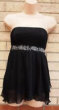 G21 BLACK BANDEAU FLARE FRILLY BEADED PARTY  CAMI BLOUSE  TOP T SHIRT TUNIC 8 S