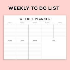 Printable Landscape Weekly Planner To Do List Pad A4 size Digital Download