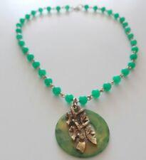 Vintage Chinese Early Plastic BAKELITE Faux Jade Peking Glass Pendant Necklace