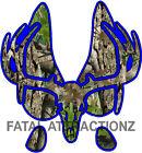 Royal Blue Camo Deer Print Skull S9 Vinyl Sticker Decal hunting buck trophy rack