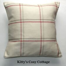 "16"" x 16"" Laura Ashley 'Corby Check' cranberry fabric cushion cover"