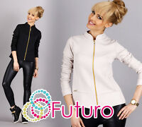Trendy Women's Blazer With Zipper Long Sleeve Jacket Sweater Sizes 8-12 FA294
