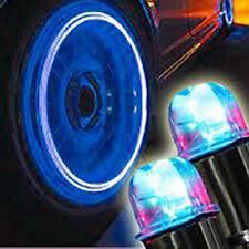 4 Bouchons De Valve LED Lumineux Bleu Voiture Moto Scooter Vélo Métal Nouveau