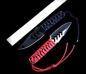 Clip Point Knife Fixed Blade Hunting Jungle Tactical Combat Cord Wrapped Handle