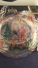 """Christmas Joy 14"""" Hand Painted Glass Serving Plate Crystal Clear Studios 1992"""