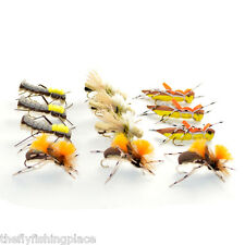 Grasshopper Trout Flies Assortment Dropper Hopper Foam Body 12 Flies 4 Patterns