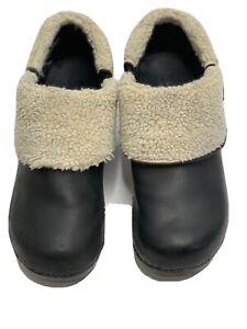 Sanita Pro Black Lined Leather Clogs Women's Shoes Size 40