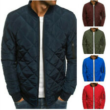 Men Cotton Coat Padded Quilted Bomber Jacket Puffer Outwear Zip Up Parka Winter