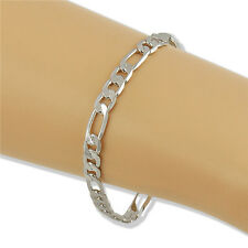 Retro Cool Silver Plated On Solid Copper Chain Special Bracelet Gift 18cm TR