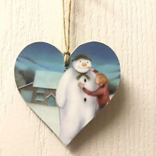 The Snowman Handmade wooden hanging Heart Christmas Decoration 8cm