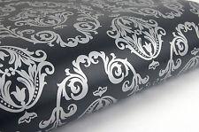 Black & Silver Damask 3m * Pattern Contact Paper Sheet Self-adhesive Wallpaper