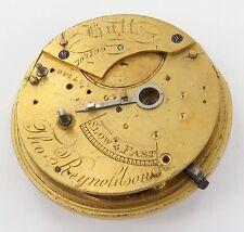 1800's SIGNED ENGLISH FUSEE PART POCKET WATCH MOVEMENT, THOMAS REYNOLDSON, HULL