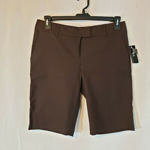 BCX 11 x11 mid rise long shorts brown stretch fit chino dressy short pockets NEW