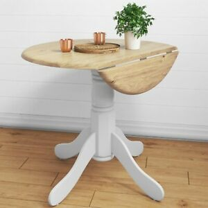 Small Round Drop Leaf Table in White & Wood - 2 Seater - Rhode Island