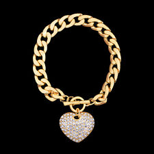 GORGEOUS 18K GOLD PLATED & GENUINE CLEAR AUSTRIAN CRYSTAL BRACELET WITH HEART