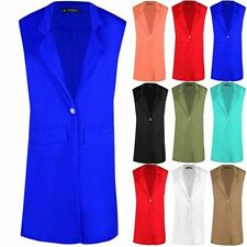 Button Polyester Plus Size Waistcoats for Women