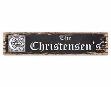 SPFN0412 The CHRISTENSEN'S Family Name Street Chic Sign Home Decor Gift Ideas