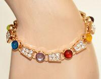 BRACELET femme OR doré pierres cristaux lilas bleu rouge ambre vert strass N42