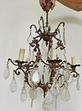 Ancien lustre 5 lumières à pampilles hauteur. 700 mm  diamétre 500 mm