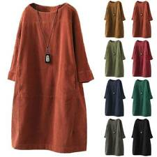 Womens Vintage Corduroy Shirt Dress Loose Fit Long Sleeve Tunic Pullover Dresses