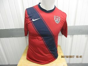 VINTAGE NIKE AUTHENTIC USA NATIONAL SOCCER TEAM SMALL DRI-FIT RED SEWN JERSEY