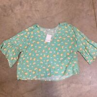 Love Fire Womens Blouse Aqua Green Yellow Floral Bell Sleeve V Neck Plus 2X New