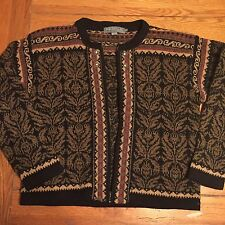 EUC Sweater ICELANDIC DESIGN Women's brown black Wool cardigan Small Fair Isle