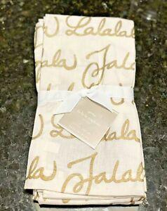 NEW Pottery Barn Tabletop S4 Fa La La Gold + White Holiday Cloth Napkins 2117984
