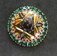 Vintage Style Czech ALL Glass Rhinestone Pin Brooch #T059 - SIGNED