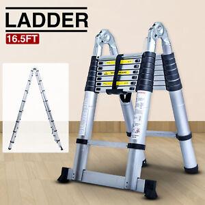 16.5FT Aluminum Multi-Purpose Extention Ladder Folding Telescopic A Frame Shape