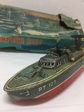 Vintage Marx Linemar Remote Controlled Battery Operated TORPEDO BOAT TOY withbox