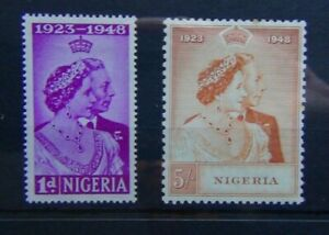 Nigeria 1948 Royal Silver Wedding set MM (5s tone spot x 2 see photo)