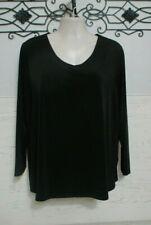 Women's Susan Graver Top Size 2X Long Sleeve Black