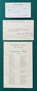Antique Royal British Coronation Choir List & Police King George Queen Elizabeth