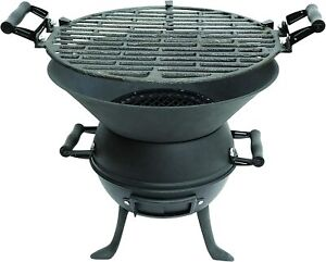 Cast Iron Barbecue BBQ Grill Fire Pit Outdoor Garden Picnic Camping Caravan UK