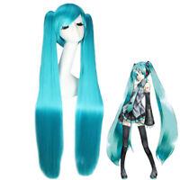 "Vocaloid Hatsune Miku Anime Costume Cosplay Wigs w/2 Ponytails Straight Hair 40"""