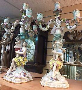 Large Very Impressive Antique Porcelain Pair Of  Candelabra Figurines