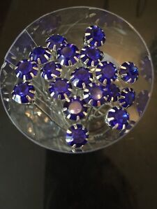 5 Wedding Prom Crystal Large Navy Blue Diamante Hair Pins Clips Grips