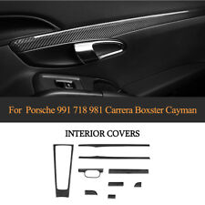 For Porsche 981/991 LHD 9PCS Center Console Trim Inner Frame Cover Carbon Fiber