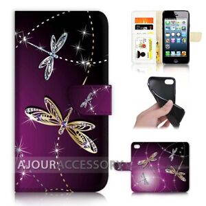( For iPhone 8 Plus ) Wallet Flip Case Cover AJ40232 Bling Dragonfly