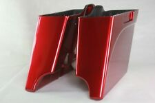 "Ember red sunglo colo 4"" both cutout extended bottom saddlebags for Harley 93-13"