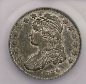 1834-P 1834 Capped Bust Half Dollar 50C ICG AU50 sweet original coin!