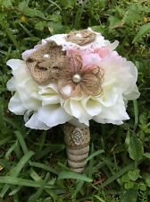 Rustic  Shabby burlap toss/bridesmaids Pink Small wedding bouquet Country
