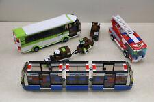 Lot Of Vintage Lego 8404 City Public Transport Passenger Train, Bus & Fire Truck