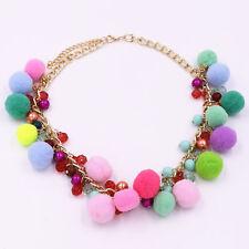 Women Choker Faux Fur Ball Pom Pom Chain Necklace Pink Bohemia Collar Pendant UK